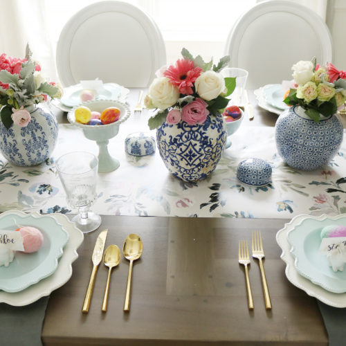 Easter Table with Blue and White
