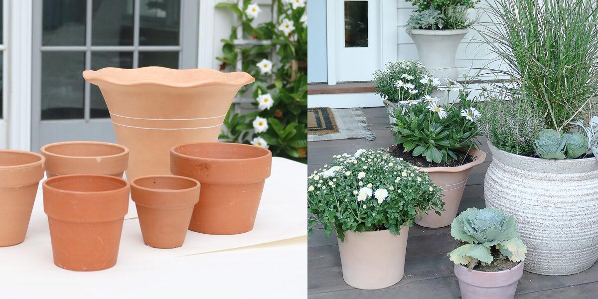 White Washed Terra Cotta Pots
